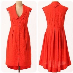 Anthropologie Postmark Red Four Corners Dress